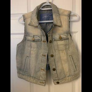 Vintage aged denim vest